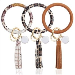 Faux leather key ring bracelet